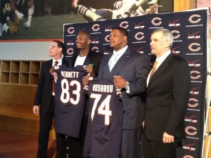 coach Marc Trestman, Bennett, Bushrod, and GM Phil Emery