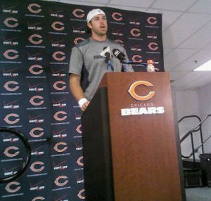 Quarterback Jordan Palmer addresses the media after the Bears 18-16 preseason loss.
