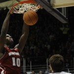 Nigel Hayes slams home one of his 19 points. courtesy: uwbadgers.com