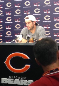 Jay Cutler addresses the media.