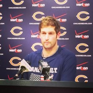 Bears QB Jay Cutler addresses the media on Thursday November 13, 2014. Photo by SRN Broadcasting