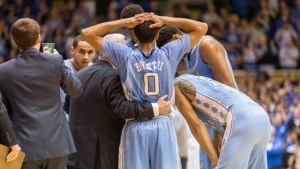UNC's Nate Britt during a timeout.  Courtesy: GoHeels.com