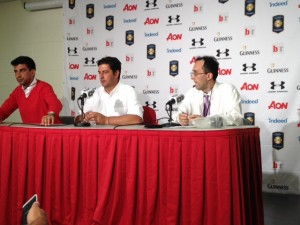 Rui Vitoria, manager of Benfica, speaks to the press