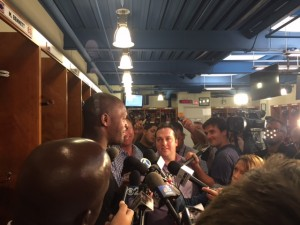 Martellus Bennett talks with the media
