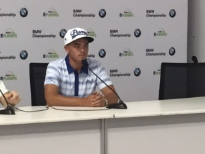 Rickie Fowler addresses the media with a 2015 BMW Championship preview