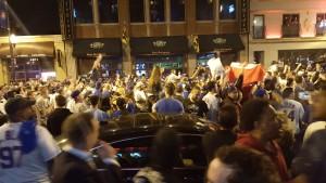 Clark Street following a Cubs playoff win