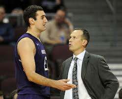NU Center Alex Olah and Head Coach Chris Collins