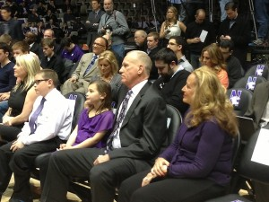 Doug Collins, his wife and grandchildren watch Chris Collins' introductory press conference