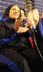 Chanise Jenkins leads the cheers for DePaul's #7 seed
