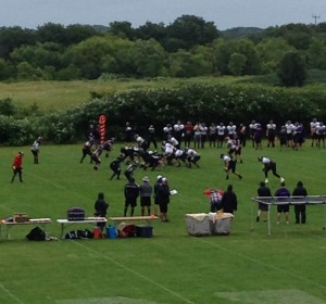 The Wildcats take the field for practice reps