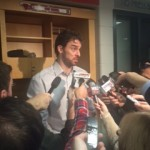 Pau Gasol talks to the media after the loss