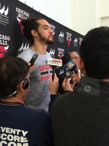 Joakim Noah talks to the media after Tuesdays practice.