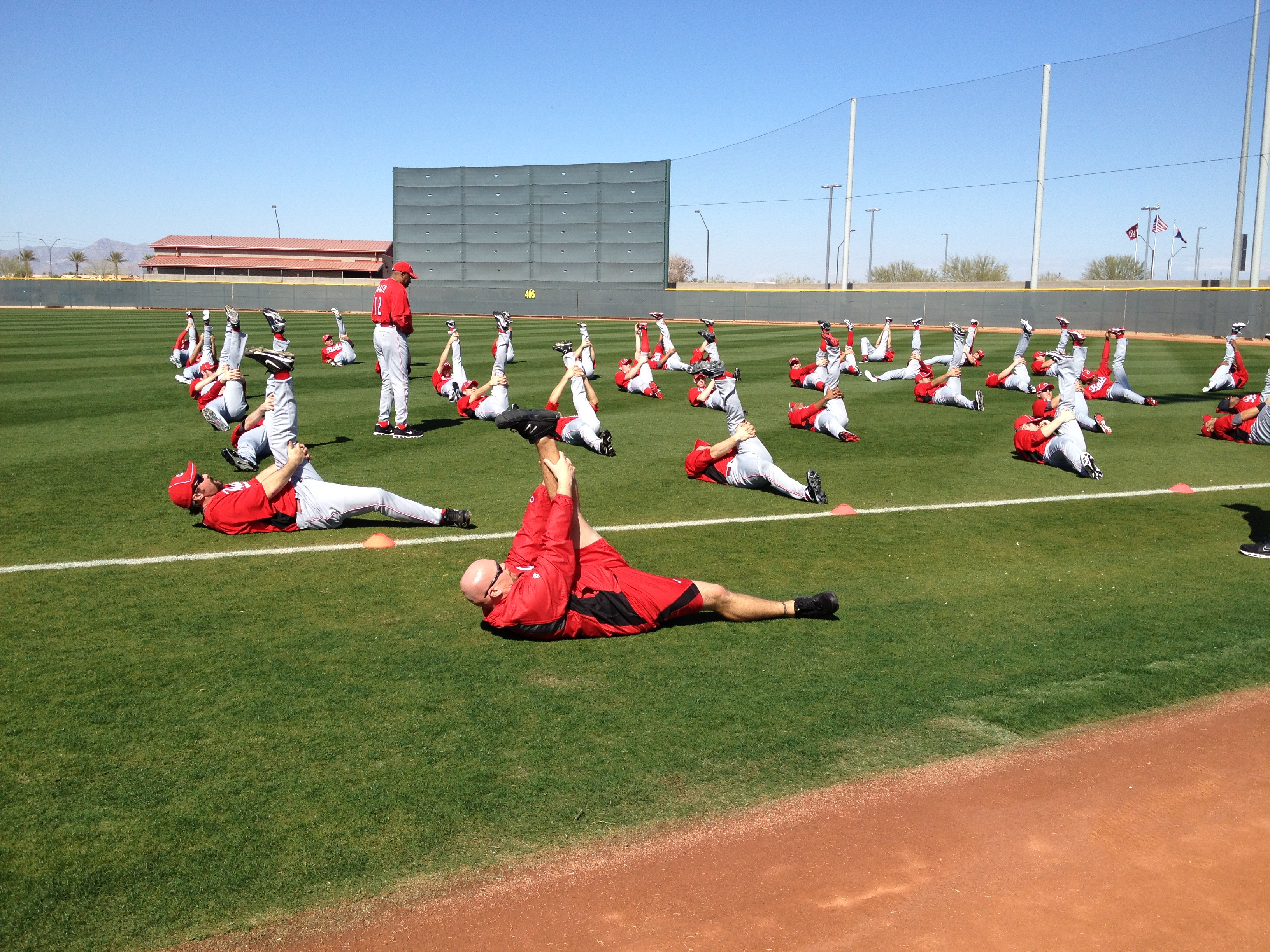 Photo of a baseball team stretching during spring training