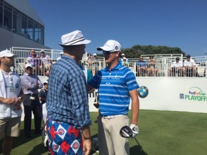 Bill Murray shares a laugh with tour pro Zach Johnson during Wednesday's Pro-Am