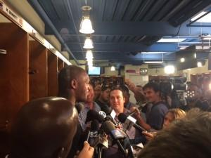 Martellus Bennett talks with the media