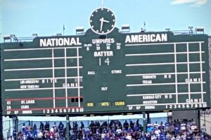 An eerily empty Cubs scoreboard