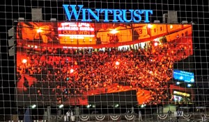 Fans congregating outside Wrigley Field following their victory over the St. Louis Cardinals