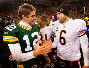 GB QB Aaron Rodgers and CHI QB Jay Culer